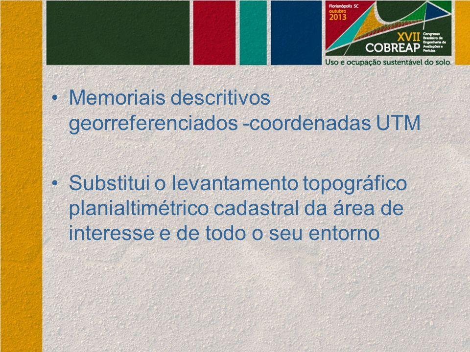 Memoriais descritivos georreferenciados -coordenadas UTM