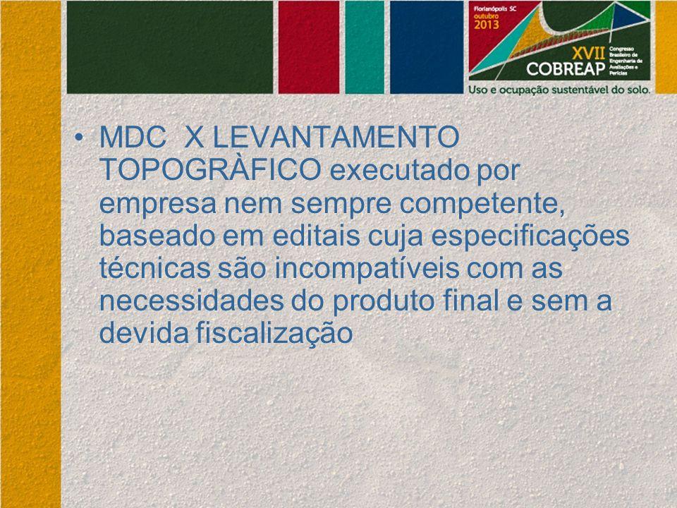 MDC X LEVANTAMENTO TOPOGRÀFICO executado por empresa nem sempre competente, baseado em editais cuja especificações técnicas são incompatíveis com as necessidades do produto final e sem a devida fiscalização