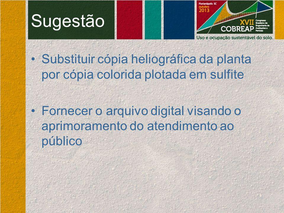 Sugestão Substituir cópia heliográfica da planta por cópia colorida plotada em sulfite.