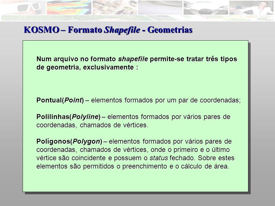 KOSMO – Formato Shapefile - Geometrias
