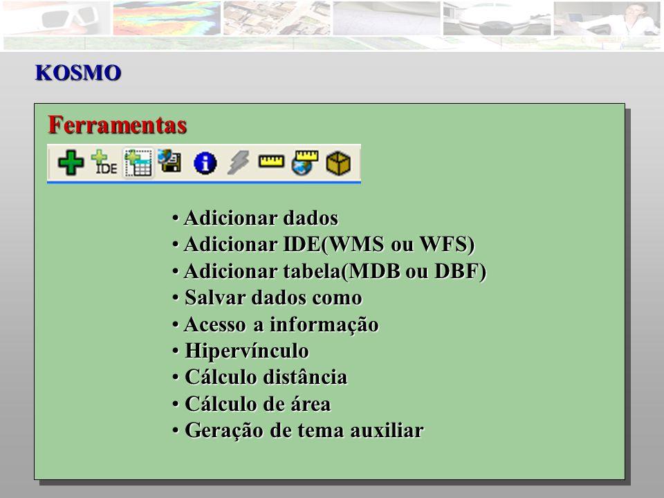 Ferramentas KOSMO Adicionar dados Adicionar IDE(WMS ou WFS)
