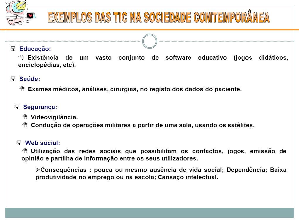 EXEMPLOS DAS TIC NA SOCIEDADE COMTEMPORÂNEA