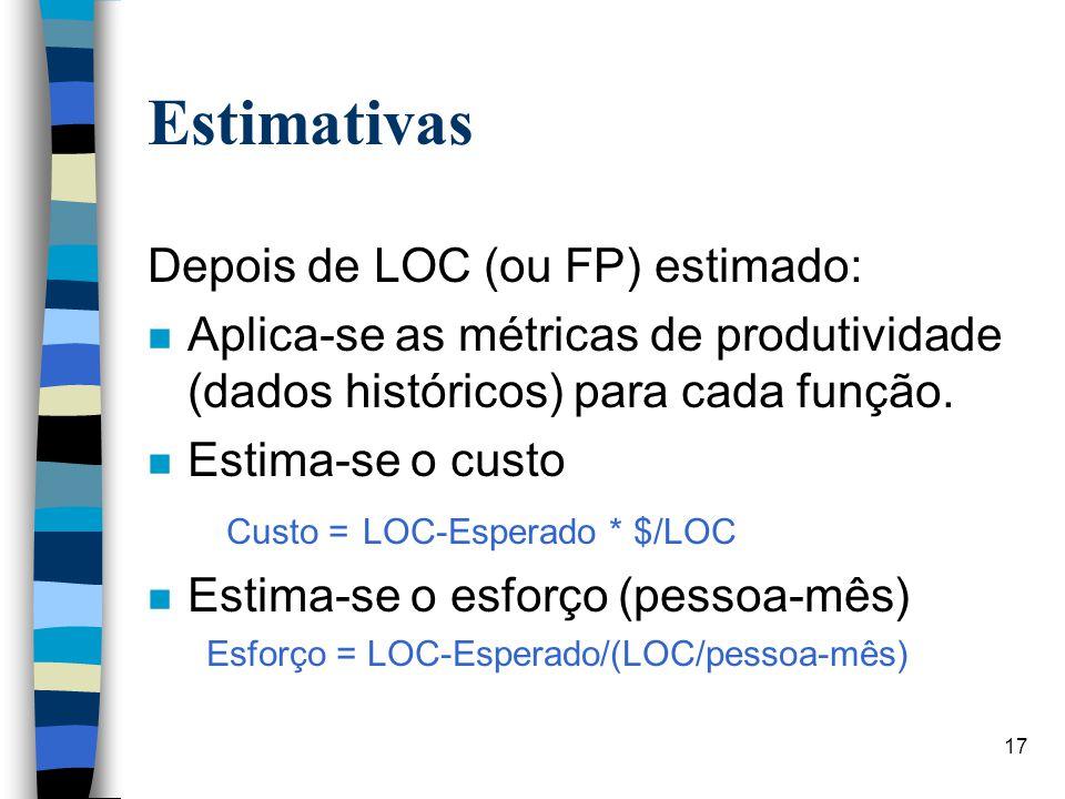 Estimativas Depois de LOC (ou FP) estimado: