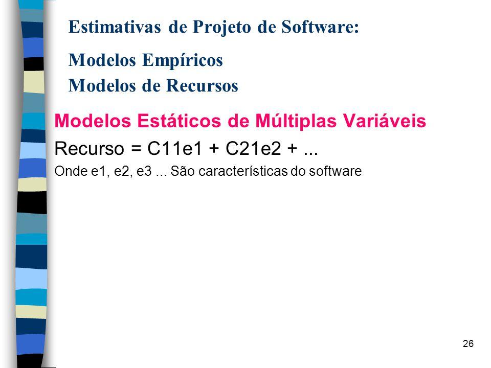 Modelos Estáticos de Múltiplas Variáveis Recurso = C11e1 + C21e2 + ...