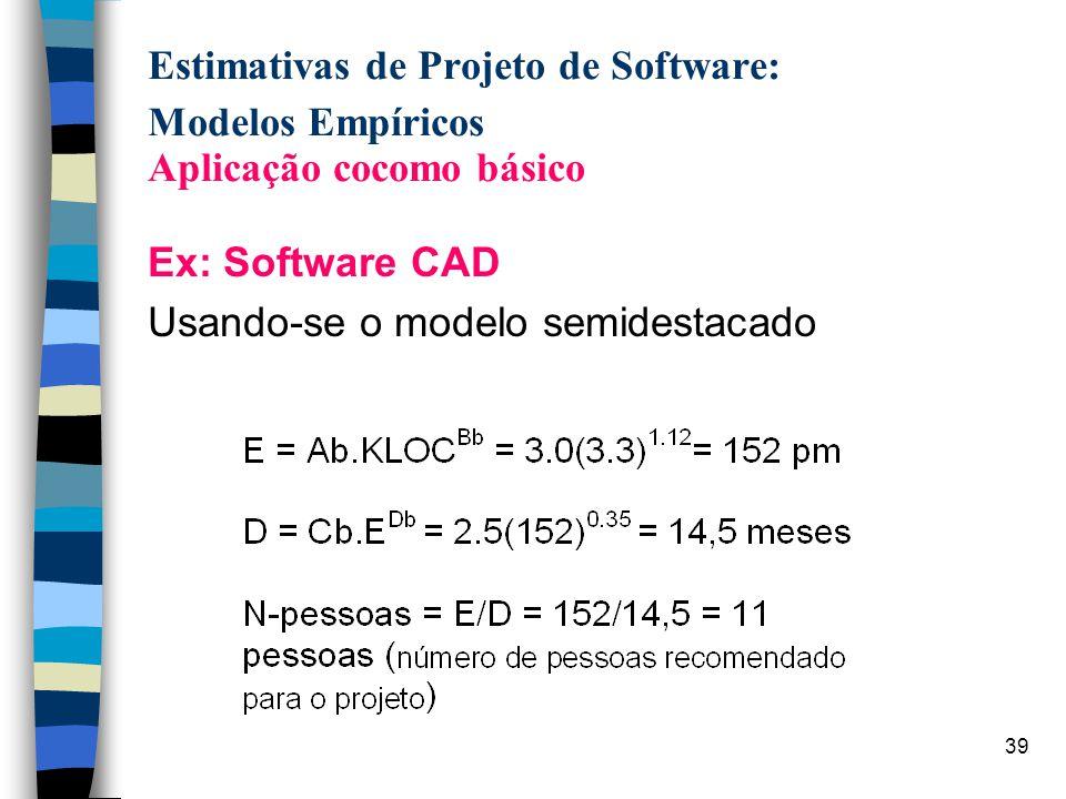 Estimativas de Projeto de Software: Modelos Empíricos Aplicação cocomo básico