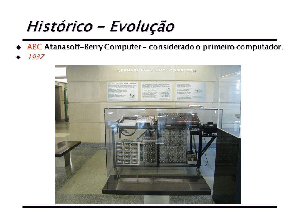 Histórico - Evolução ABC Atanasoff-Berry Computer – considerado o primeiro computador. 1937