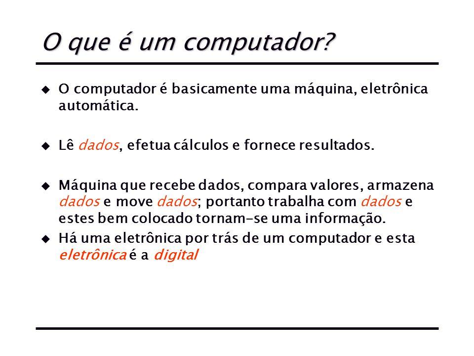 O que é um computador O computador é basicamente uma máquina, eletrônica automática. Lê dados, efetua cálculos e fornece resultados.