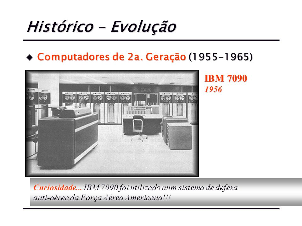 Histórico - Evolução Computadores de 2a. Geração (1955-1965) IBM 7090
