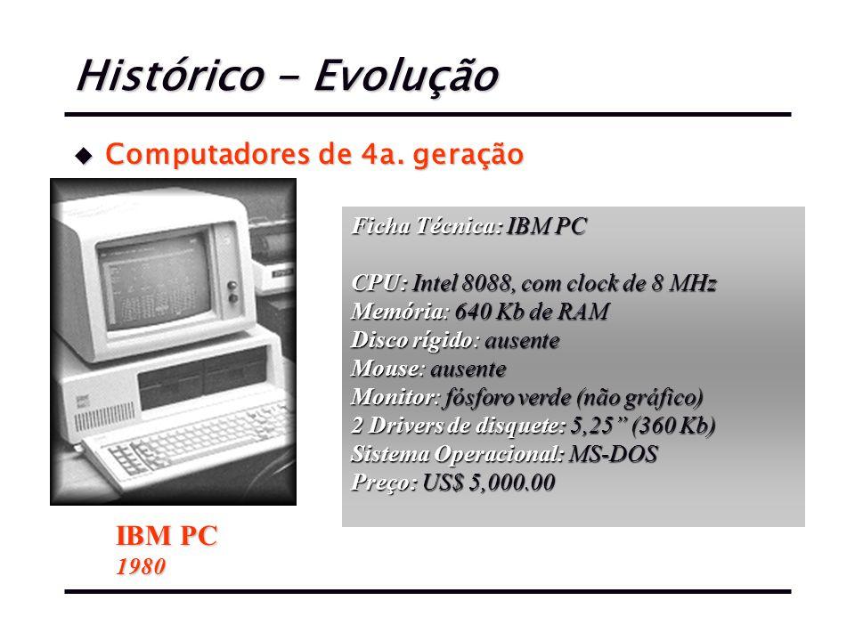Histórico - Evolução Computadores de 4a. geração IBM PC