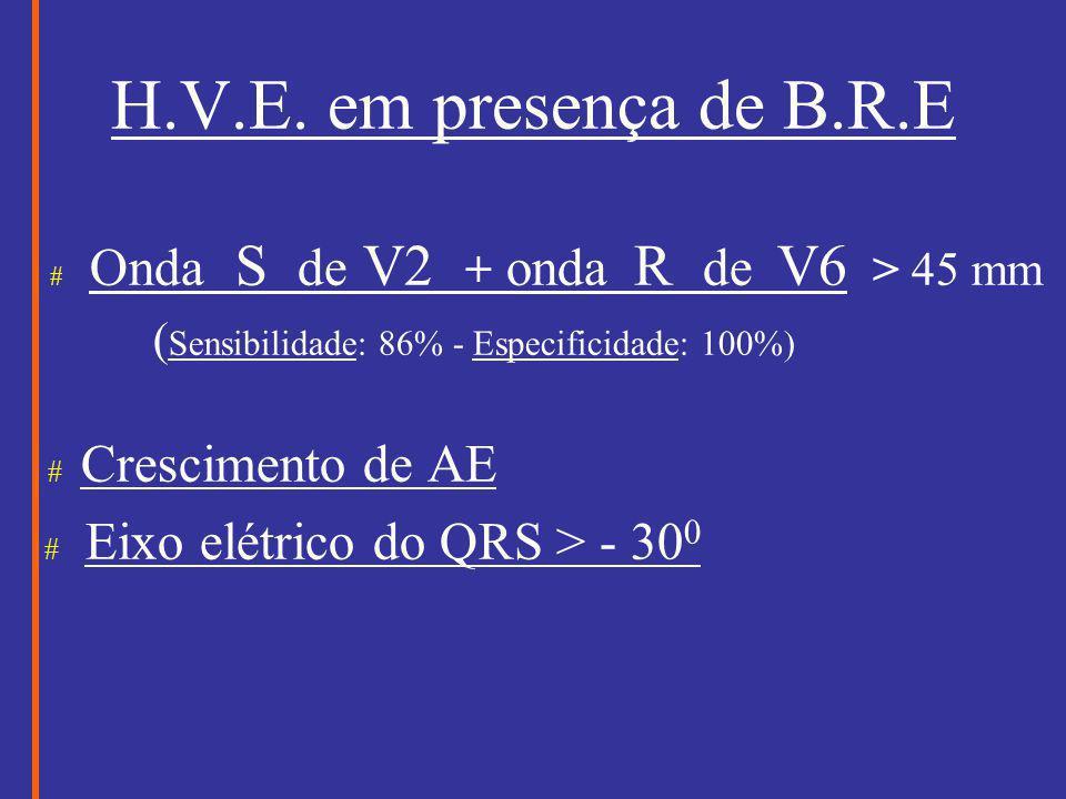 H.V.E. em presença de B.R.E # Eixo elétrico do QRS > - 300