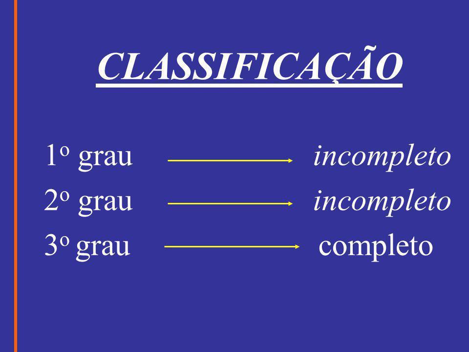 CLASSIFICAÇÃO 1o grau incompleto.