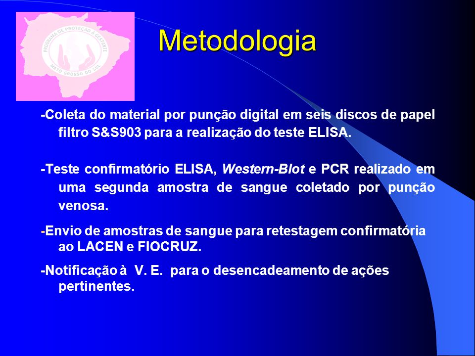 Metodologia -Coleta do material por punção digital em seis discos de papel filtro S&S903 para a realização do teste ELISA.