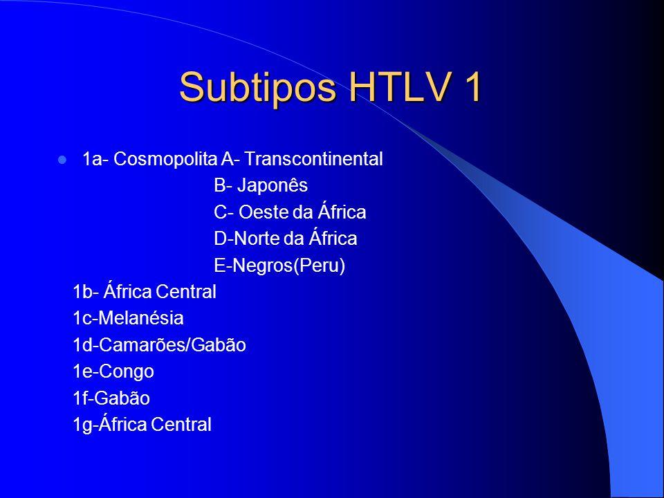 Subtipos HTLV 1 1a- Cosmopolita A- Transcontinental B- Japonês