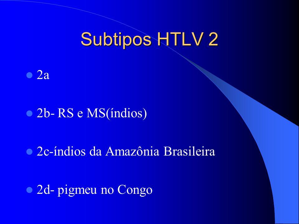 Subtipos HTLV 2 2a 2b- RS e MS(índios)
