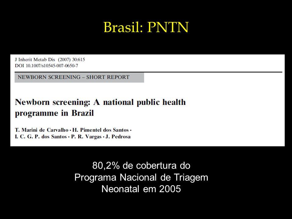 80,2% de cobertura do Programa Nacional de Triagem Neonatal em 2005