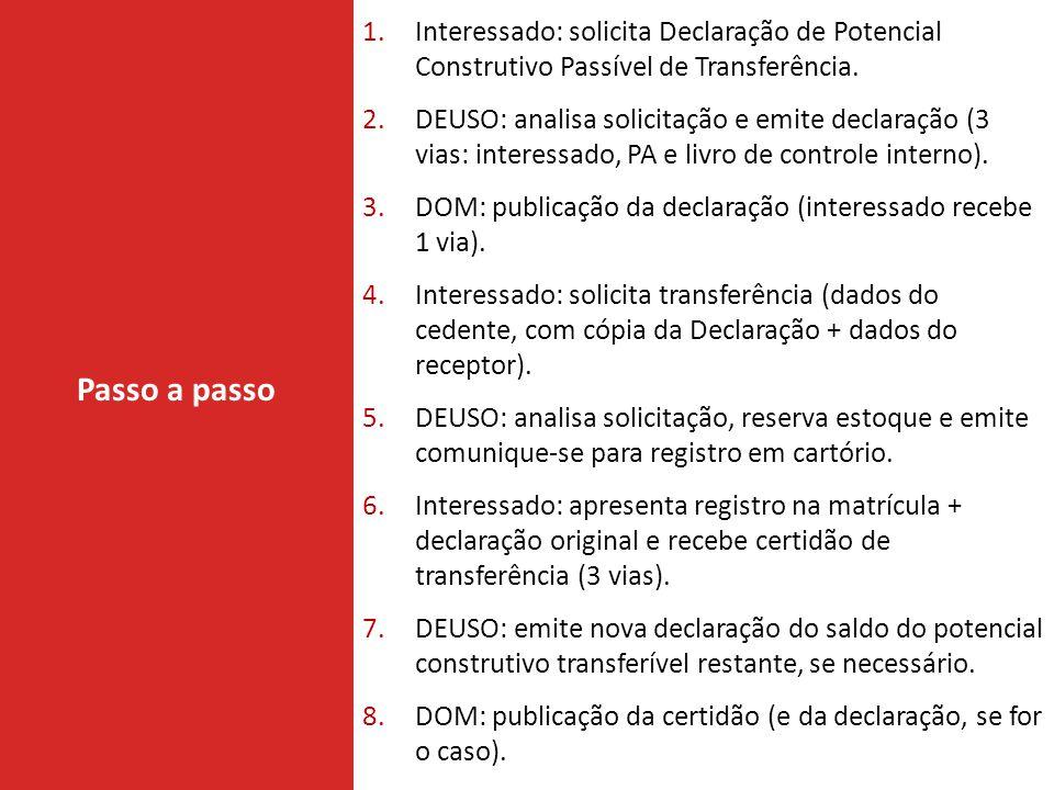 Interessado: solicita Declaração de Potencial Construtivo Passível de Transferência.