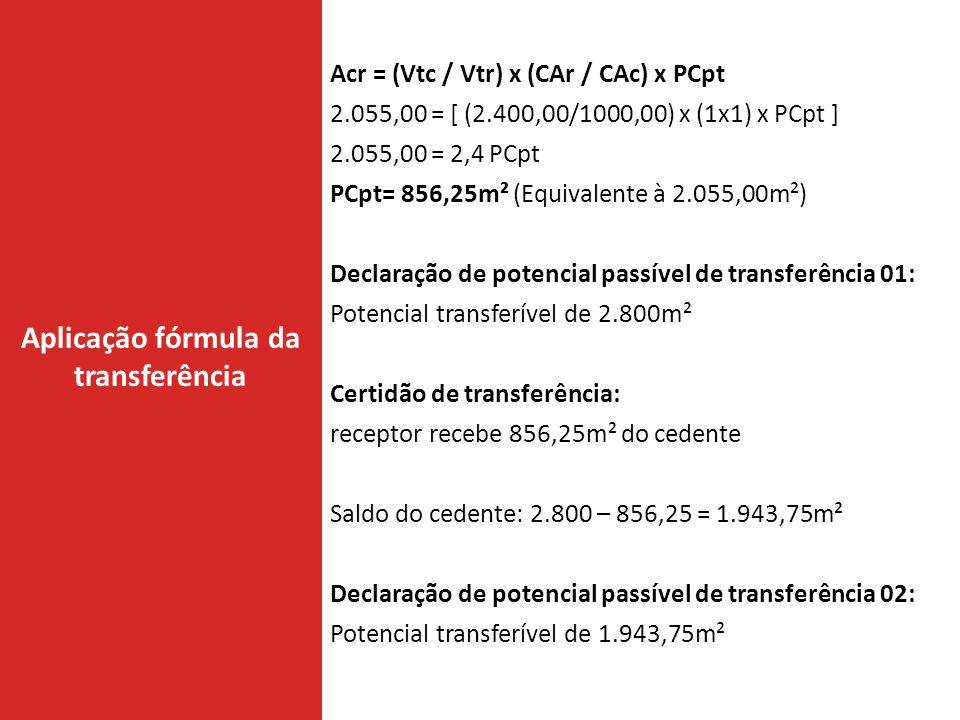 Aplicação fórmula da transferência