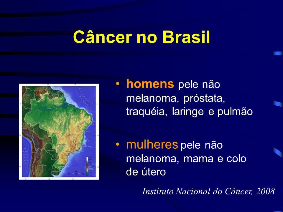 Câncer no Brasil homens pele não melanoma, próstata, traquéia, laringe e pulmão. mulheres pele não melanoma, mama e colo de útero.