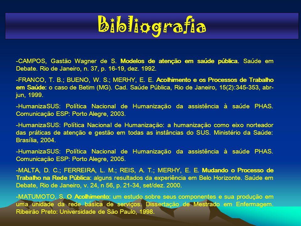 Bibliografia -CAMPOS, Gastão Wagner de S. Modelos de atenção em saúde pública. Saúde em Debate. Rio de Janeiro, n. 37, p. 16-19, dez. 1992.