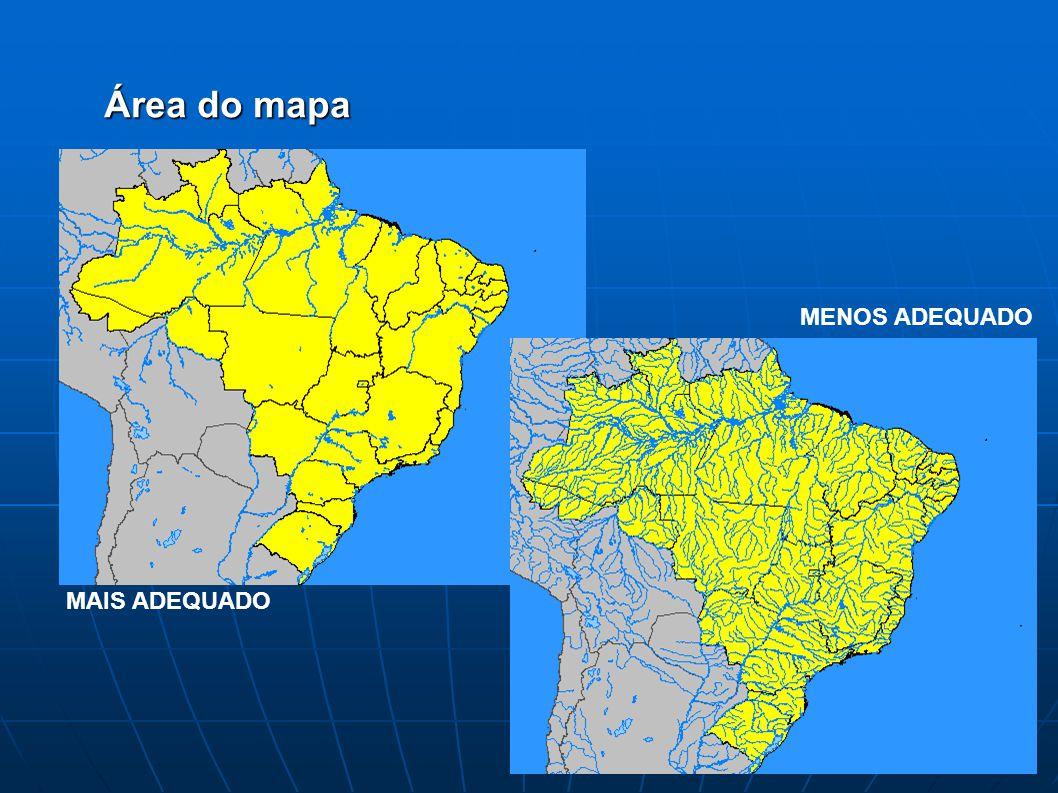 Área do mapa MENOS ADEQUADO MAIS ADEQUADO