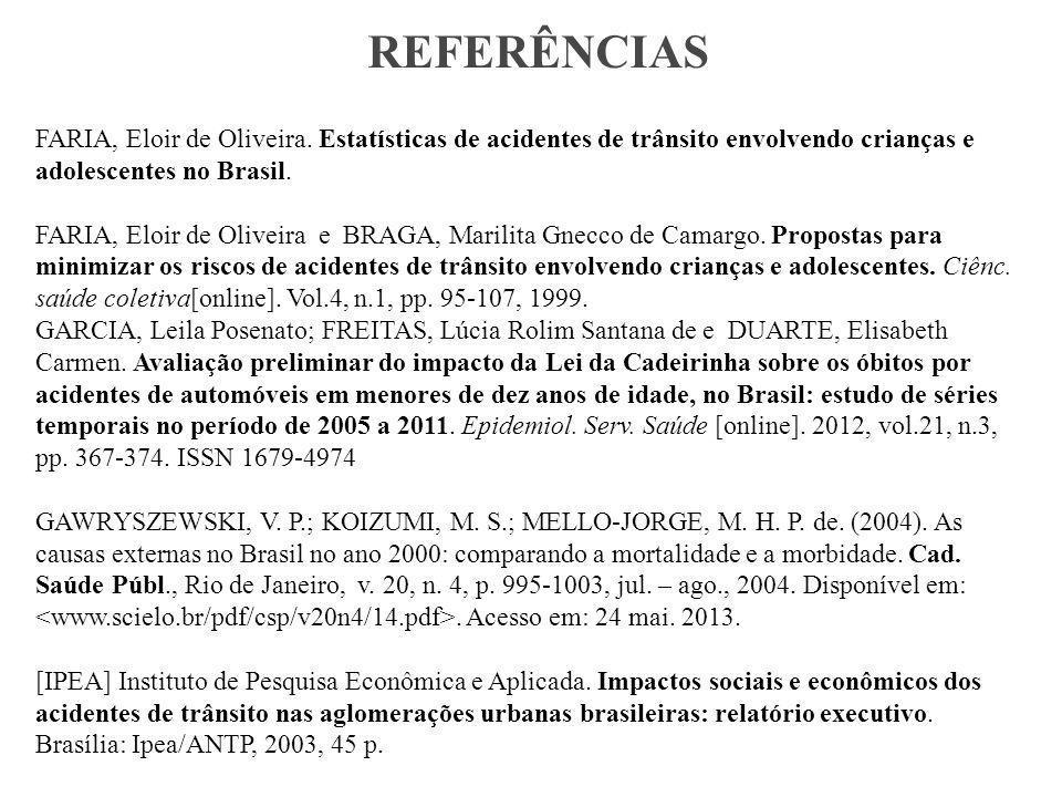 REFERÊNCIAS FARIA, Eloir de Oliveira. Estatísticas de acidentes de trânsito envolvendo crianças e adolescentes no Brasil.