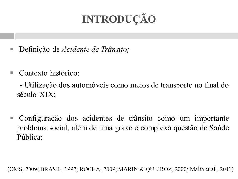 INTRODUÇÃO Definição de Acidente de Trânsito; Contexto histórico: