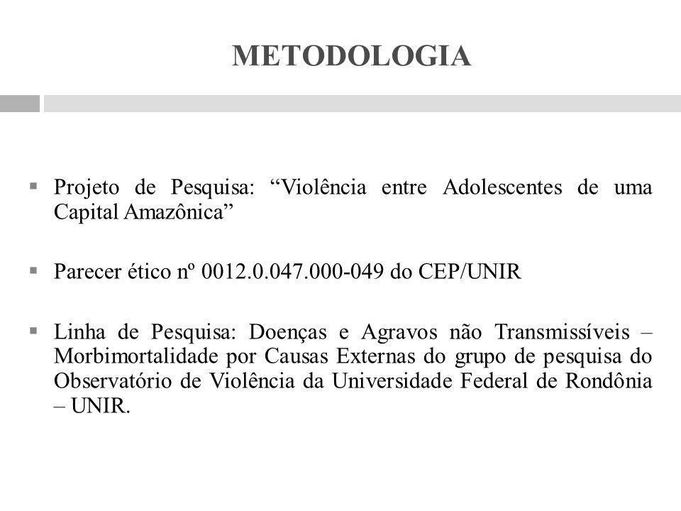 METODOLOGIA Projeto de Pesquisa: Violência entre Adolescentes de uma Capital Amazônica Parecer ético nº 0012.0.047.000-049 do CEP/UNIR.