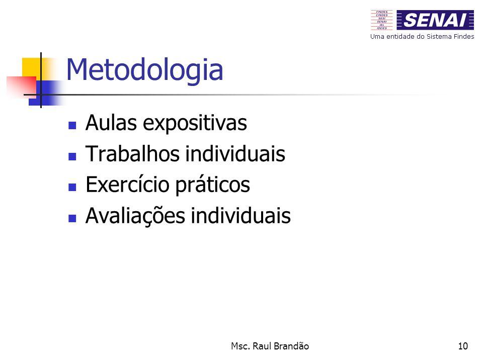 Metodologia Aulas expositivas Trabalhos individuais Exercício práticos