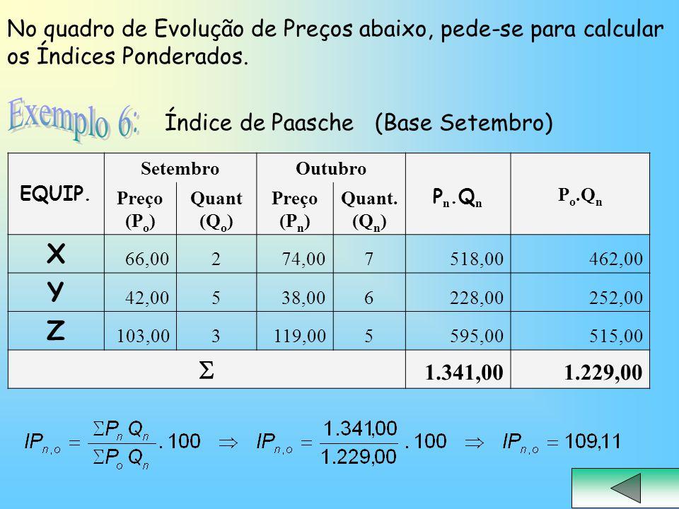 No quadro de Evolução de Preços abaixo, pede-se para calcular os Índices Ponderados.
