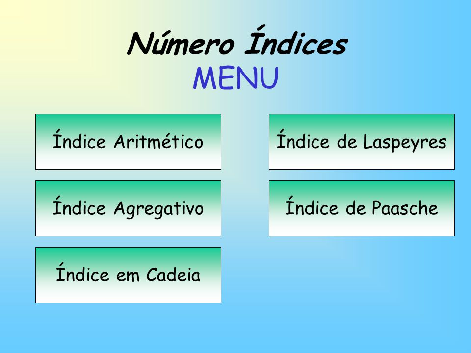 Número Índices MENU Índice Aritmético Índice de Laspeyres