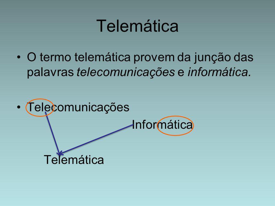 Telemática O termo telemática provem da junção das palavras telecomunicações e informática. Telecomunicações.