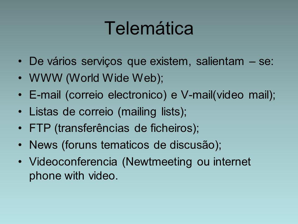 Telemática De vários serviços que existem, salientam – se: