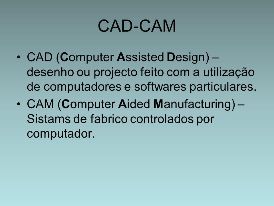 CAD-CAM CAD (Computer Assisted Design) – desenho ou projecto feito com a utilização de computadores e softwares particulares.