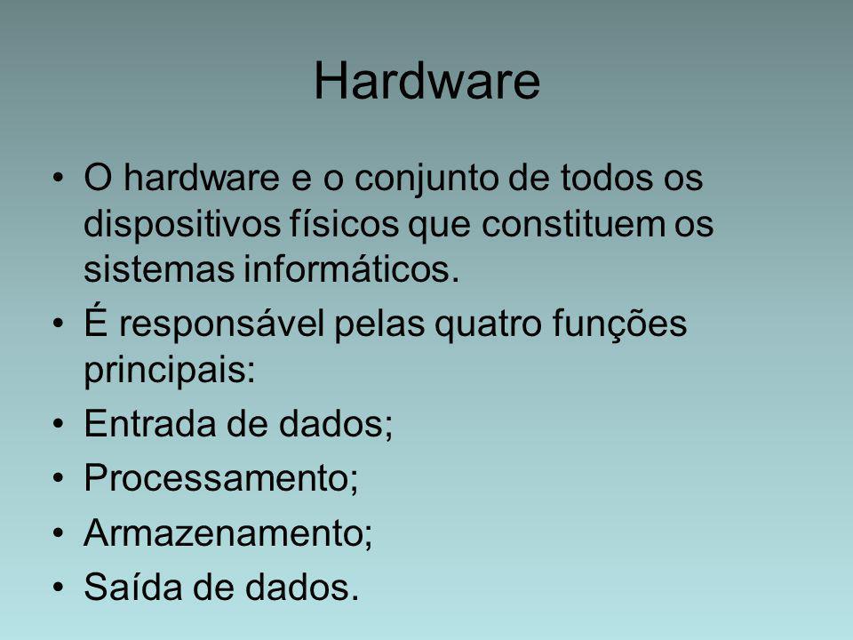 Hardware O hardware e o conjunto de todos os dispositivos físicos que constituem os sistemas informáticos.
