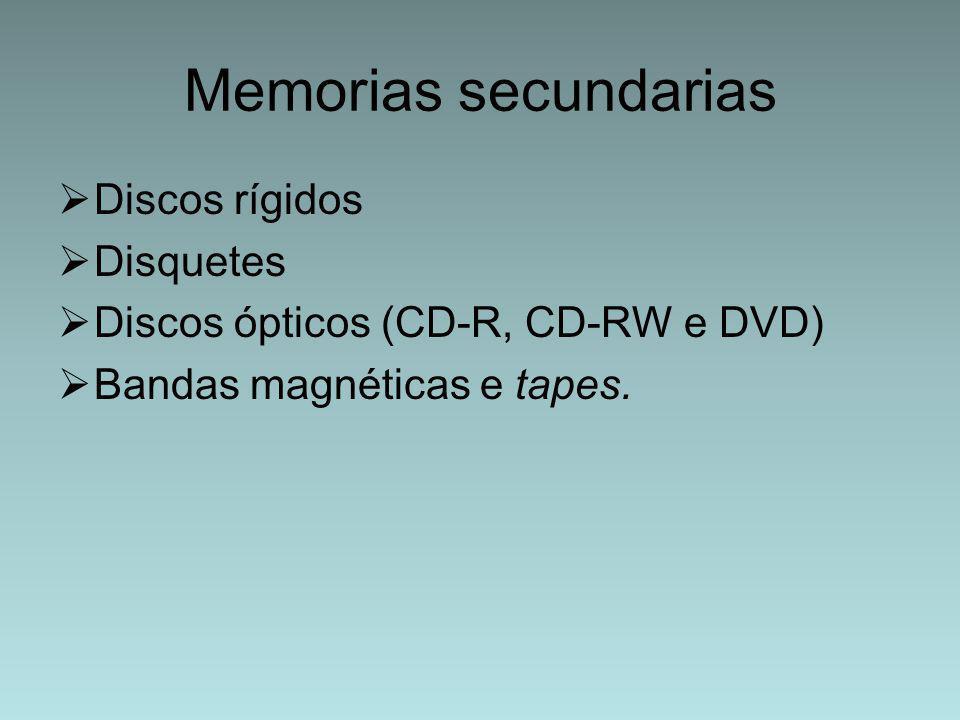 Memorias secundarias Discos rígidos Disquetes