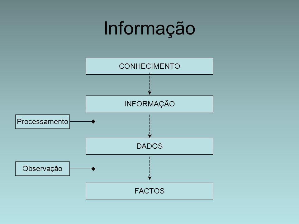 Informação CONHECIMENTO INFORMAÇÃO Processamento DADOS Observação