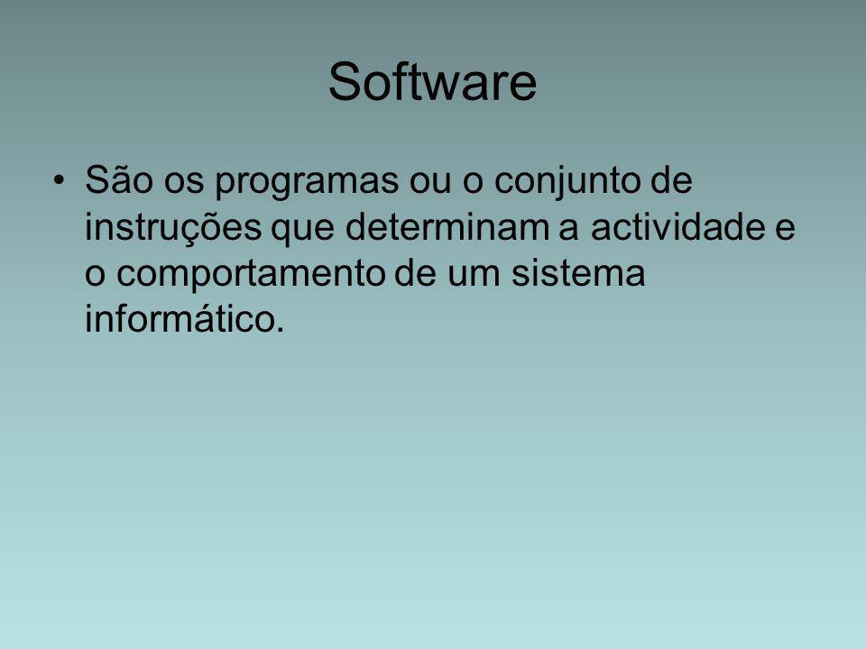 Software São os programas ou o conjunto de instruções que determinam a actividade e o comportamento de um sistema informático.