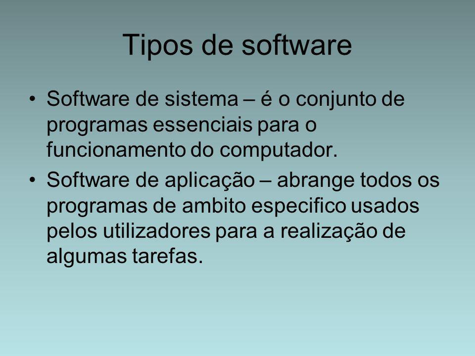 Tipos de software Software de sistema – é o conjunto de programas essenciais para o funcionamento do computador.