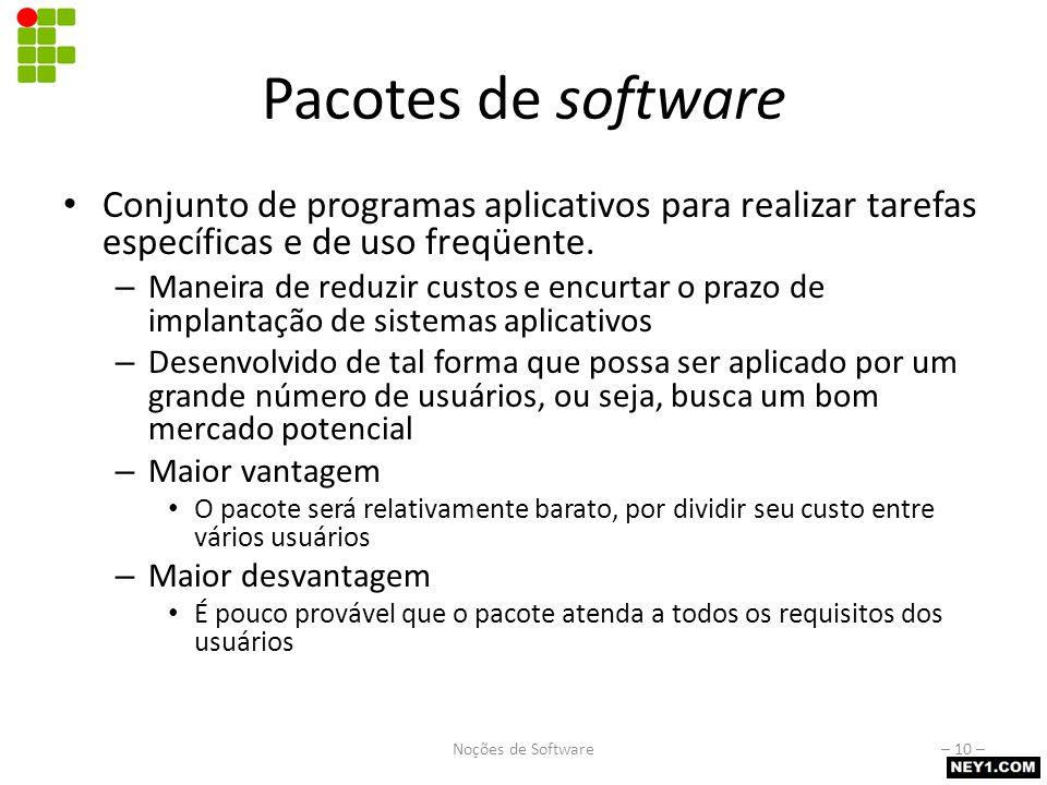 Licenças de software Determinam os direitos e deveres para com o software. Software Comercial – Uso condicionado a pagamento prévio (compra)