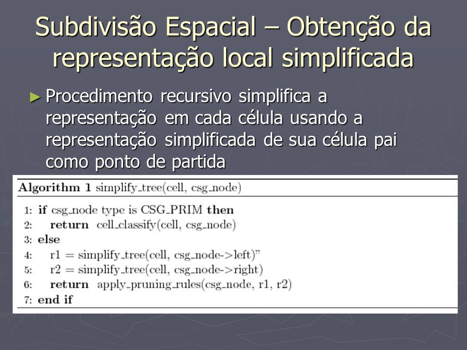 Subdivisão Espacial – Obtenção da representação local simplificada
