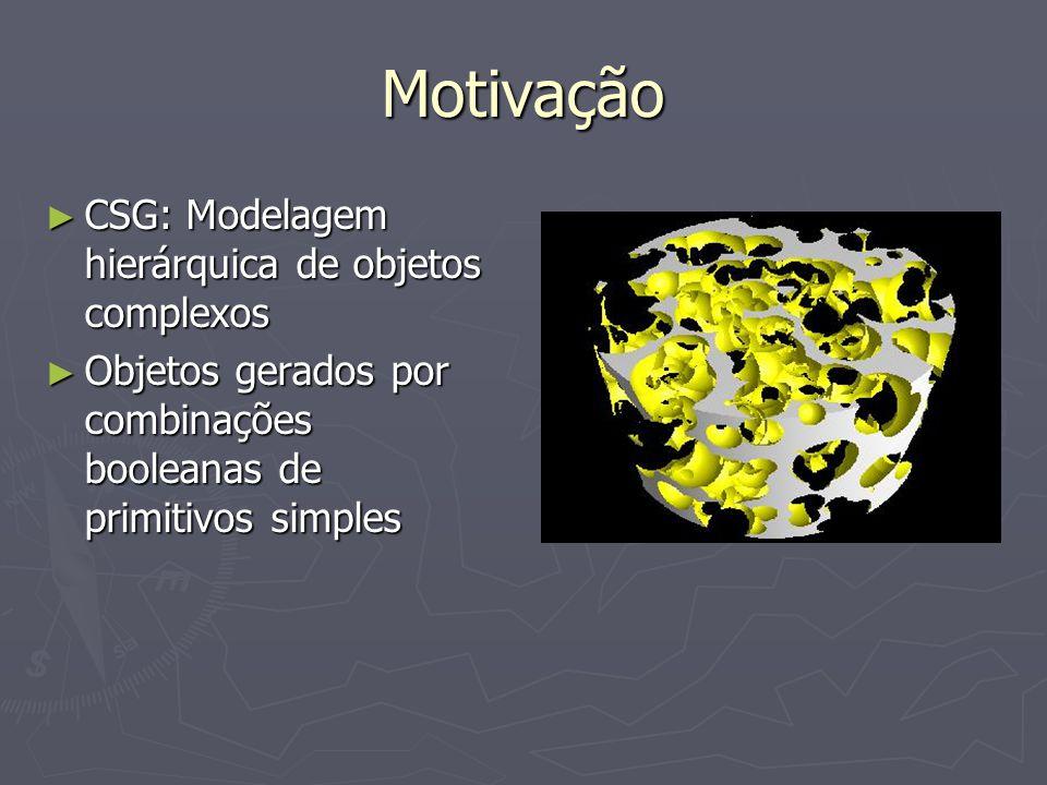 Motivação CSG: Modelagem hierárquica de objetos complexos