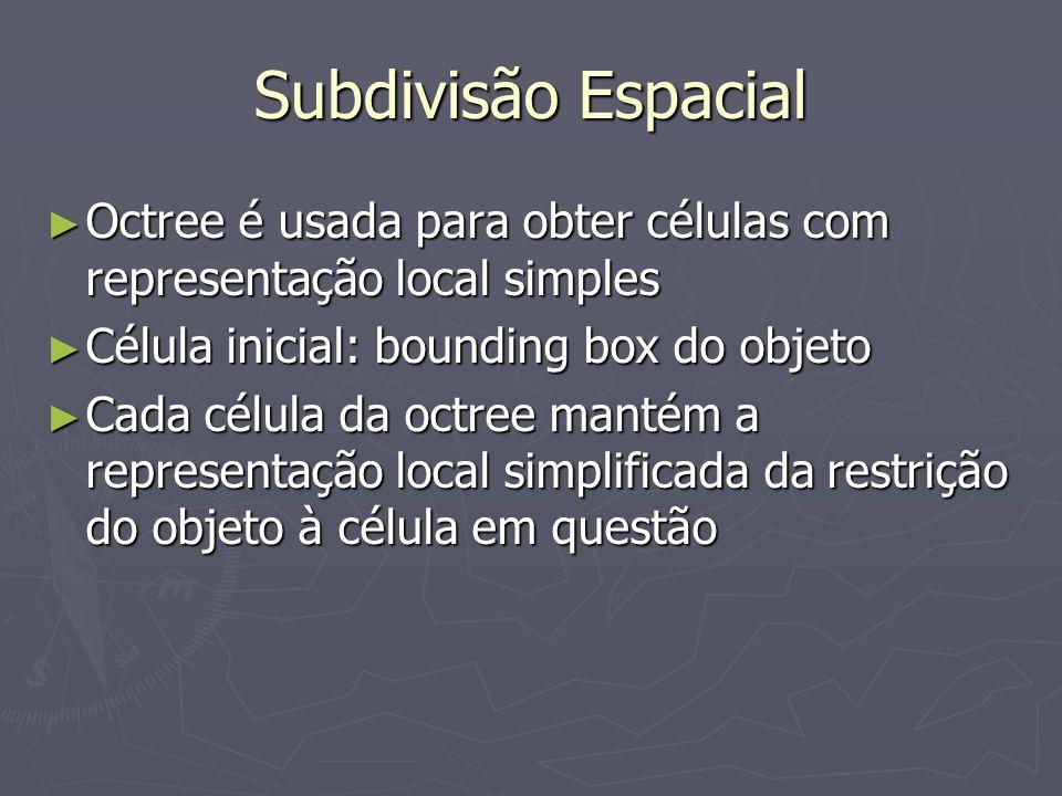 Subdivisão Espacial Octree é usada para obter células com representação local simples. Célula inicial: bounding box do objeto.