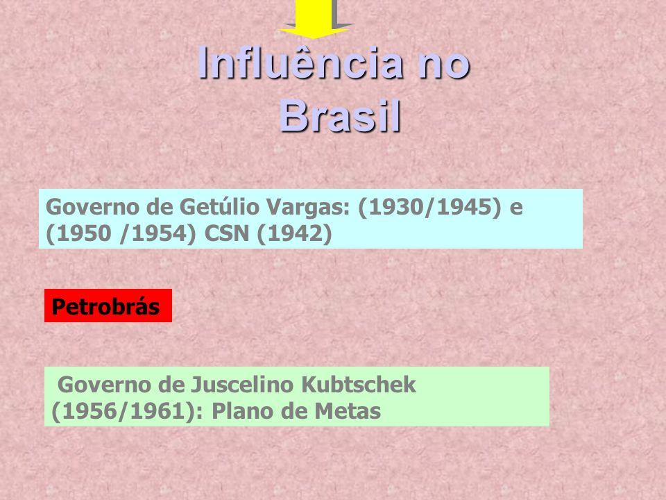 Influência no Brasil. Governo de Getúlio Vargas: (1930/1945) e (1950 /1954) CSN (1942) Petrobrás.