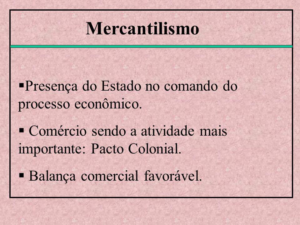 Mercantilismo Presença do Estado no comando do processo econômico.