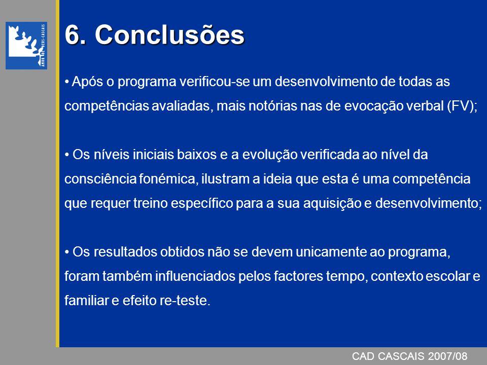 6. Conclusões Após o programa verificou-se um desenvolvimento de todas as competências avaliadas, mais notórias nas de evocação verbal (FV);