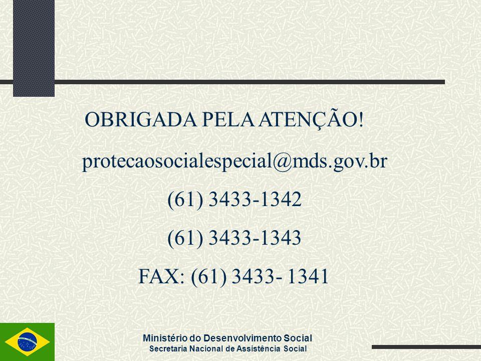 OBRIGADA PELA ATENÇÃO. protecaosocialespecial@mds.gov.br.