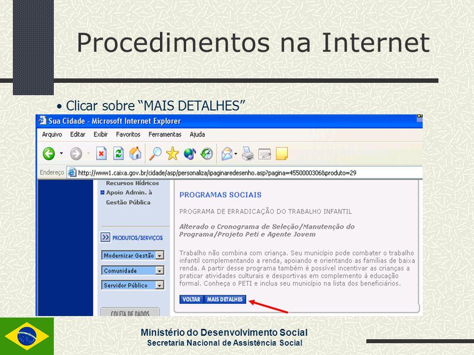 Procedimentos na Internet