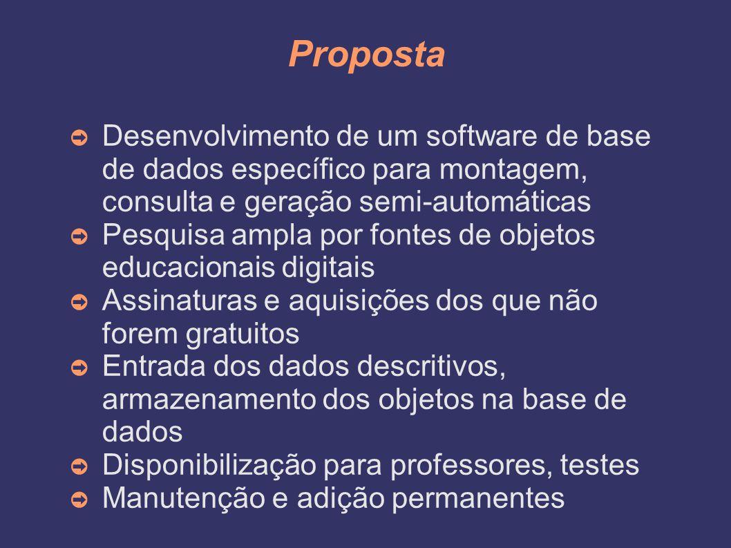 Proposta Desenvolvimento de um software de base de dados específico para montagem, consulta e geração semi-automáticas.