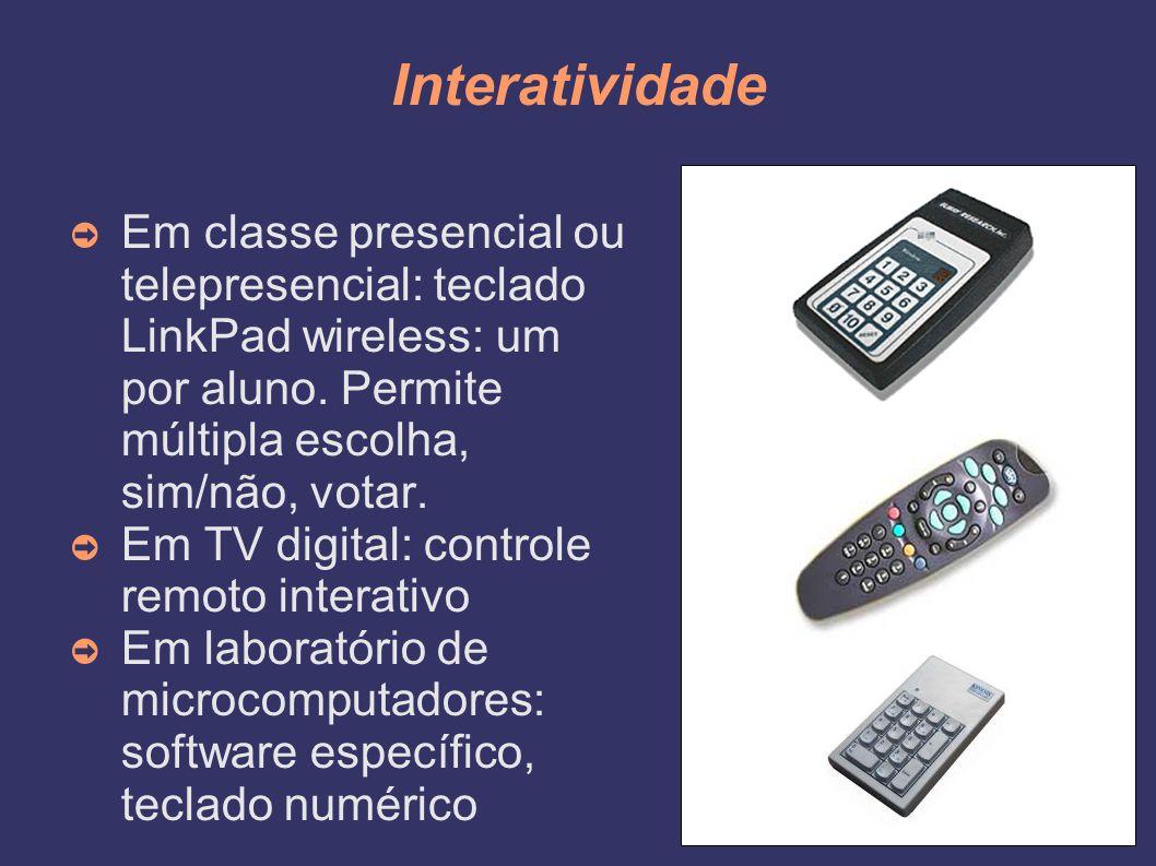 Interatividade Em classe presencial ou telepresencial: teclado LinkPad wireless: um por aluno. Permite múltipla escolha, sim/não, votar.