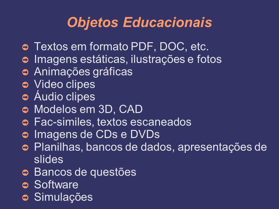 Objetos Educacionais Textos em formato PDF, DOC, etc.